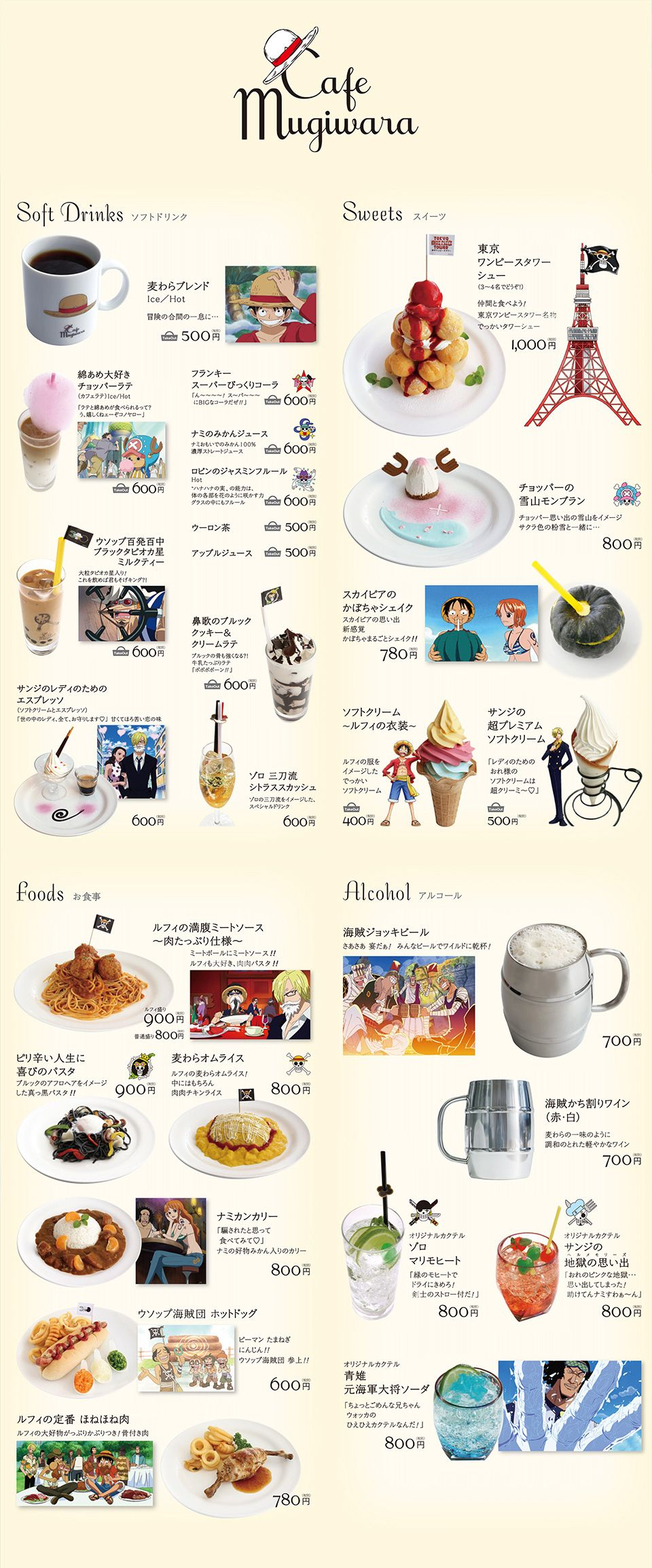 Cafe Mugiwara Menu Tokyo Food Menu Sweets