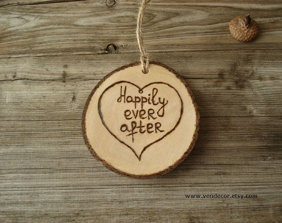 Wood burned happily ever after ornament with initials one year