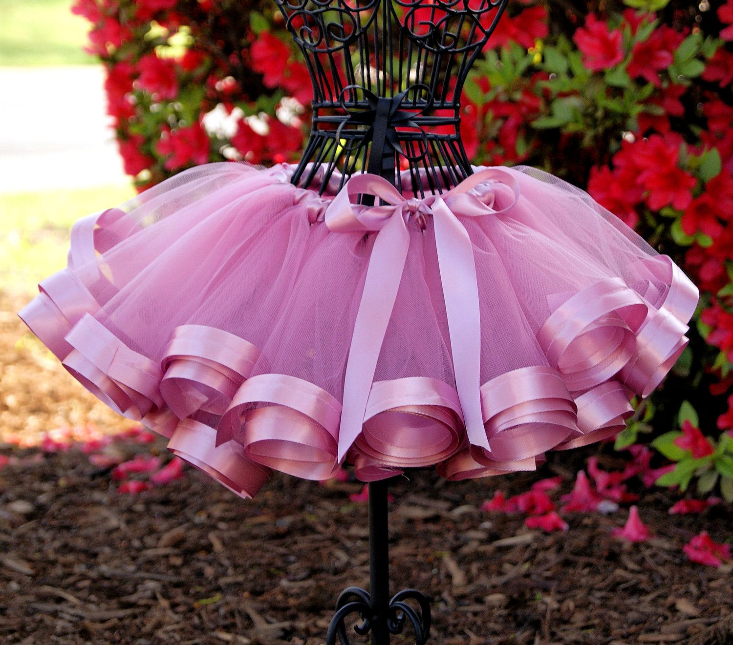 4d262efc2 Satin Ribbon Trim Tutu You Pick Color Free by ThreePrincessBows. $40.00,  via Etsy.
