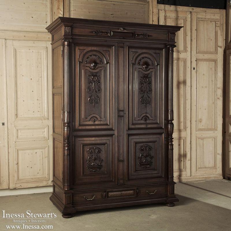 19th century renaissance henri ii walnut armoire antique. Black Bedroom Furniture Sets. Home Design Ideas