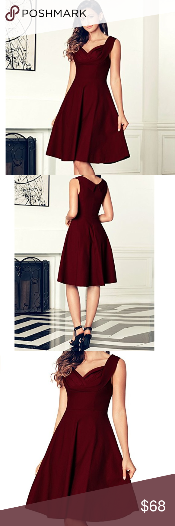 Ella Wine Red Fit And Flare Cocktail Dress Fit And Flare Cocktail Dress Dresses Fit And Flare [ 1740 x 580 Pixel ]