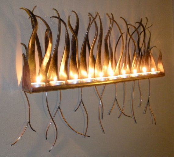 Metal Candle Holder - Wall Sculpture Sconce For Candles Or Tea ...