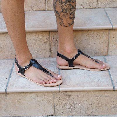 Mens Leather T Bar Strap Sandals Black Silver Gold Roman Greek Goth Specks