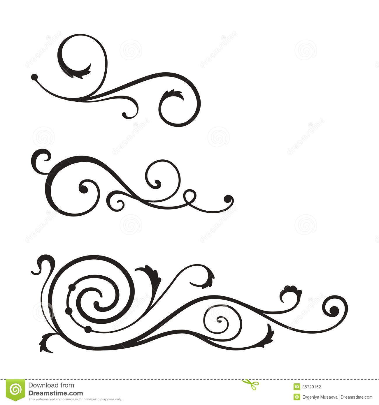 Basic Line Designs : Swirl elements design vector g