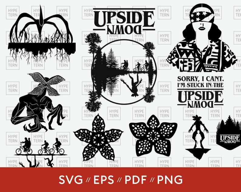 Stranger Things Svg Bundle Pack Upside Down Demogorgon The Mind Flayer Vector Eps Pdf Png Stranger Things Logo Mind Flayer Silhouette Png