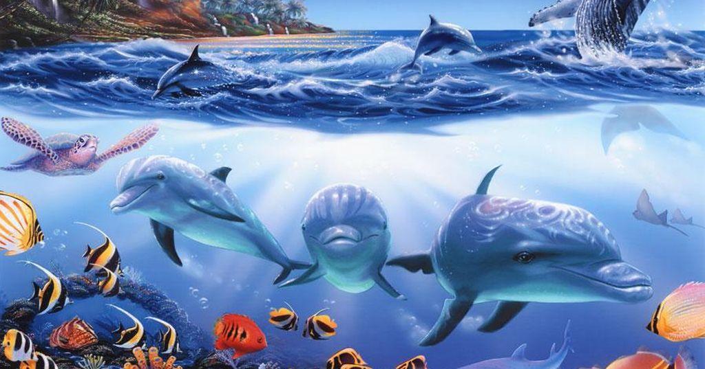 Dolphin Murals For Bedrooms | Dolphin Mural | Wallpaper Murals