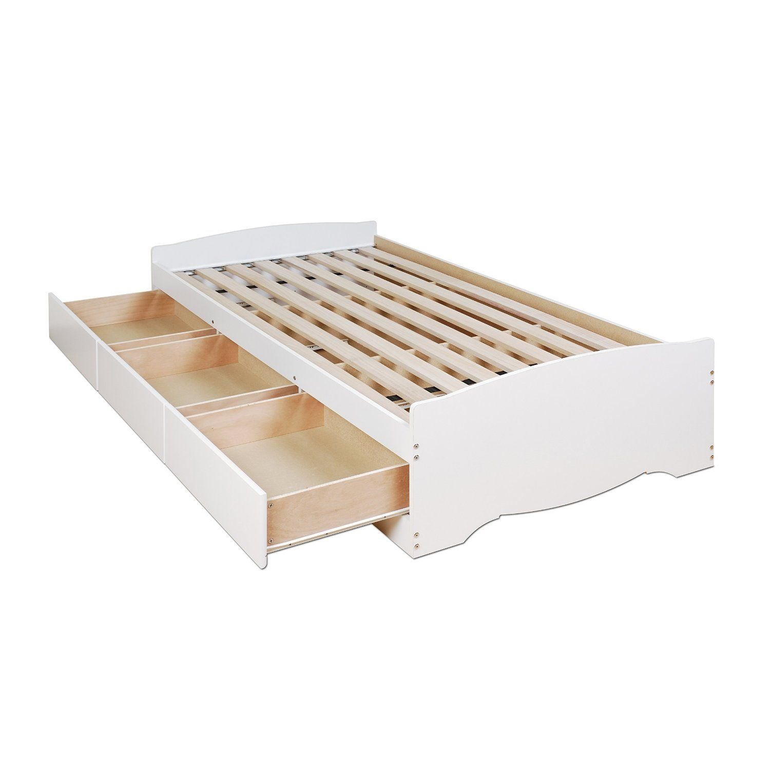 Amazon.com: White Twin Mate's Platform Storage Bed with 3 Drawers: Home & Kitchen