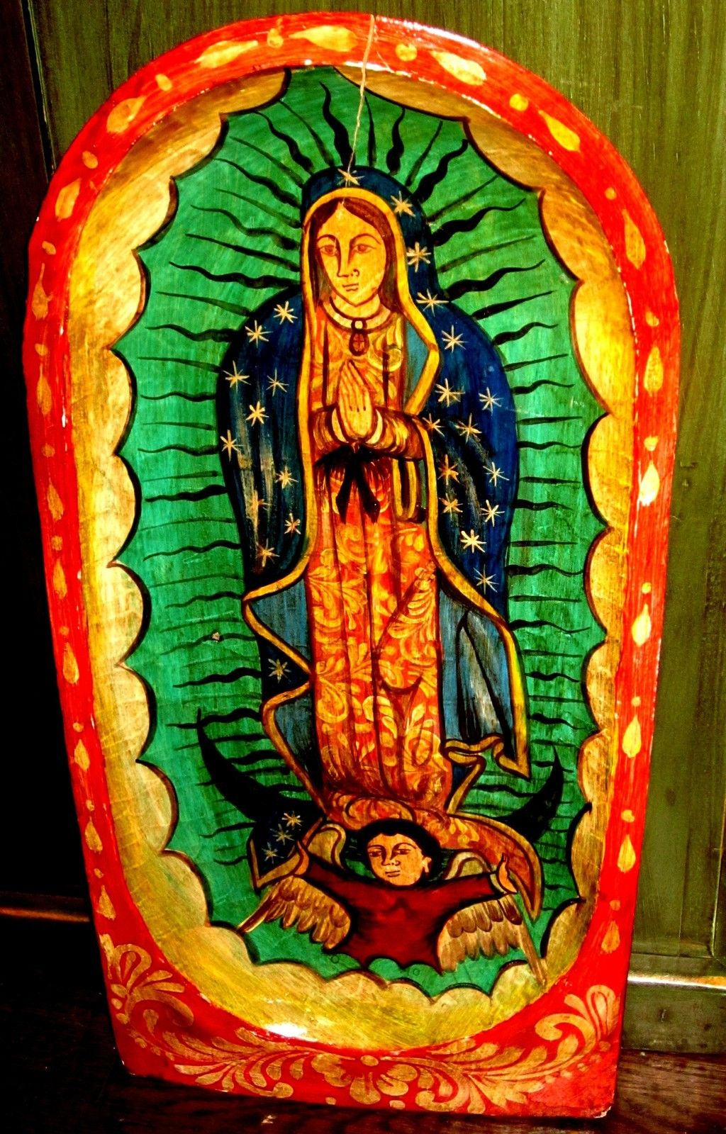 Mexican Folk Art - LG Painted Wood Batea with Virgin Guadalupe