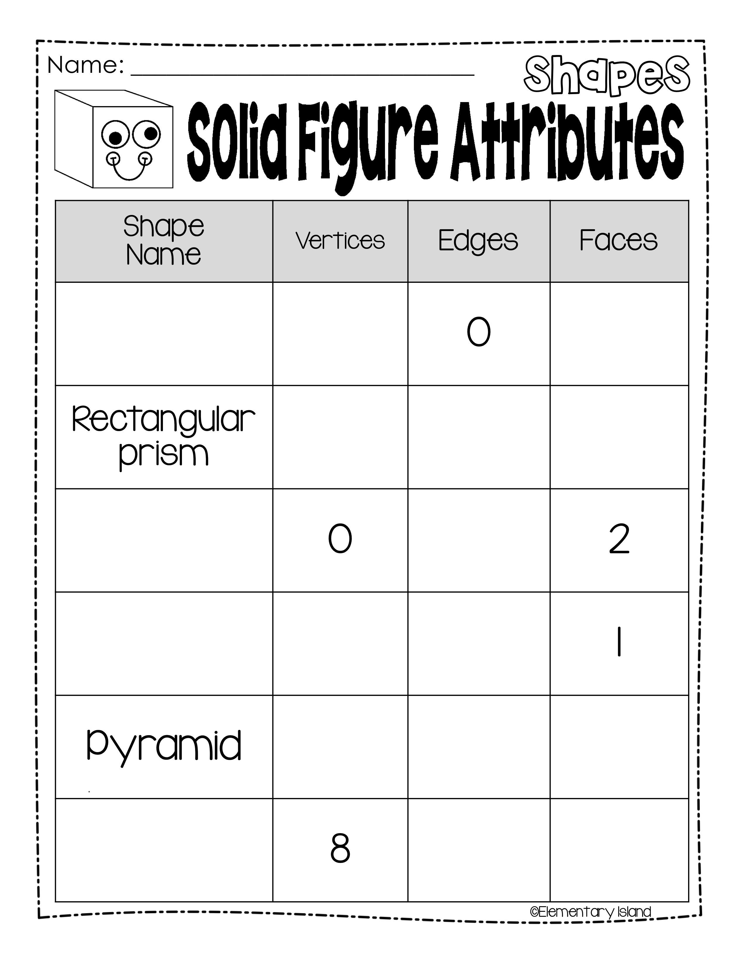 Identify Solid Figures 2nd Grade Worksheet Printables
