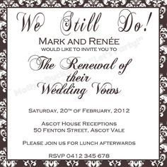 Invitation Writing Samples For Vow Renewal Google Search The
