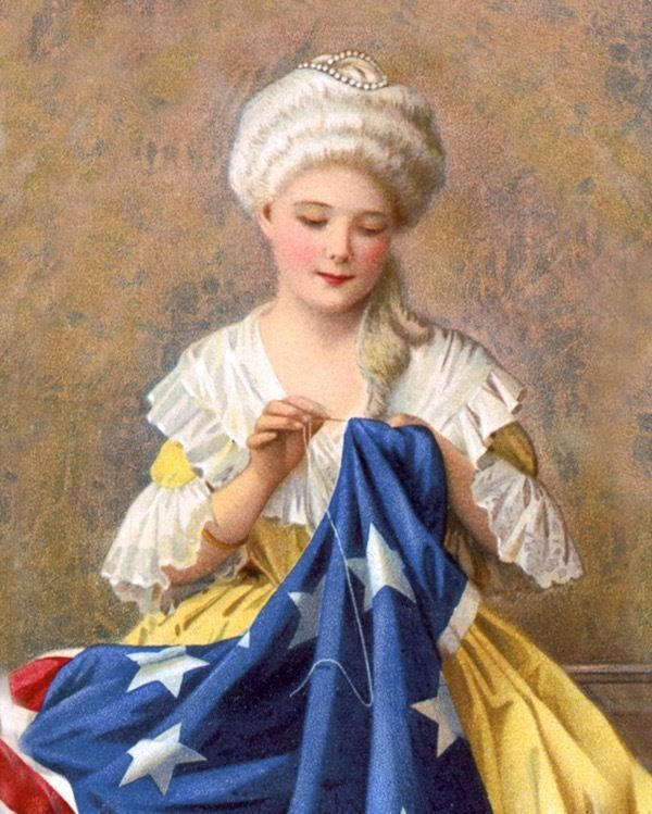 image regarding Betsy Ross Printable Pictures named BETSY ROSS SEWING THE AMERICAN US FLAG Portray Correct CANVAS