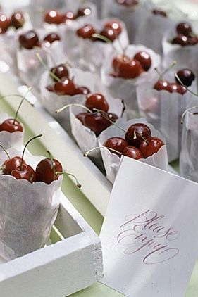 Cherry Season | Outdoor Party Ideas | Martha Stewart SCALLOPED SACKS | NgLp Designs shares pretty seasonal fruits sacks ~ a wonderful and delicious party favour and gift. Each of these sacks holds a handful of juicy red cherries, perfect for an outdoor summer party... | cherry season | entertaining ideas | healthy snacks | pretty tablescape ///
