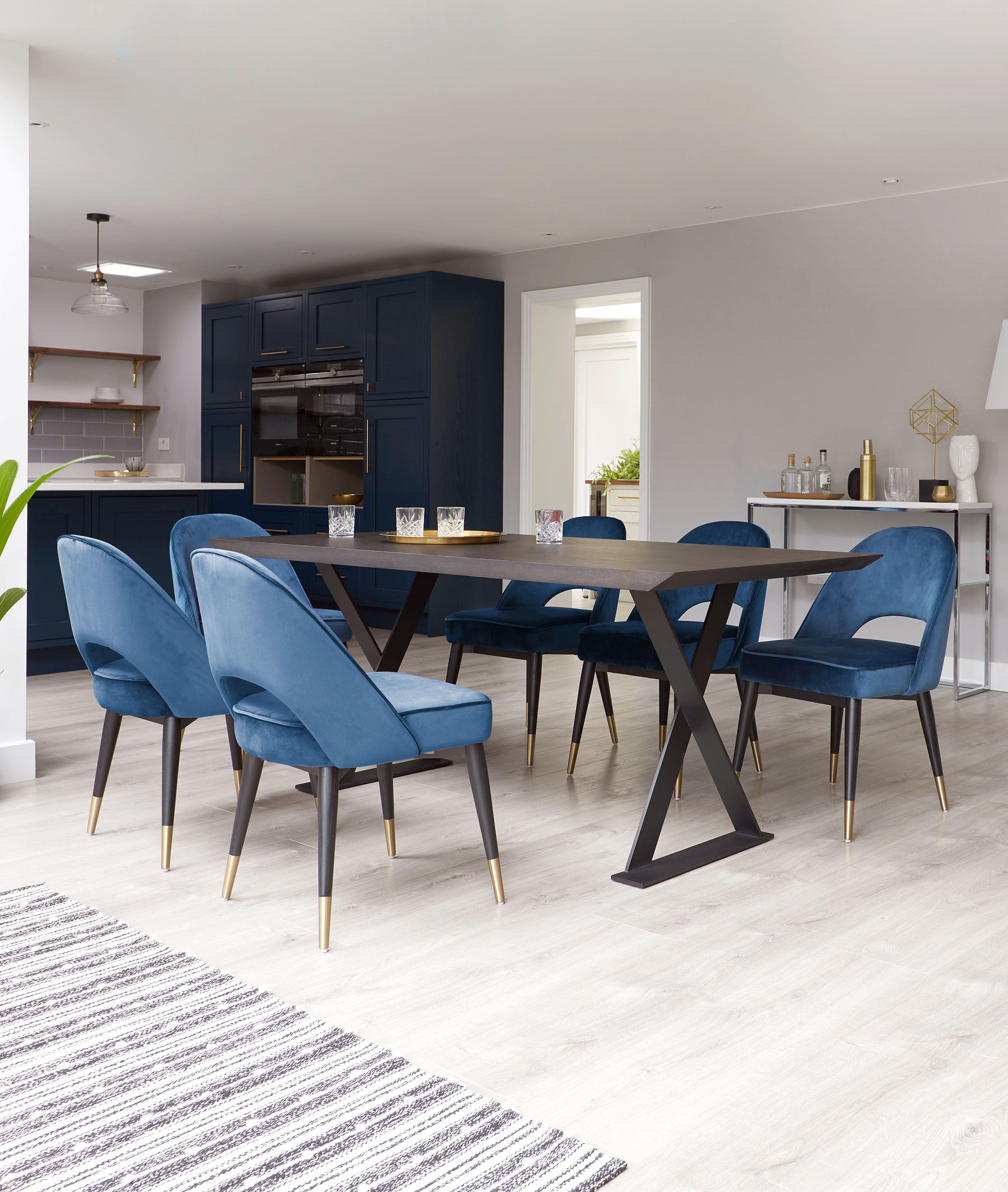 Nala Dark Oak And Clover Sapphire Blue Velvet Chair Set Blue Velvet Dining Room Chairs Velvet Dining Room Chairs Velvet Dining Chairs