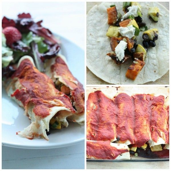 White Corn Enchiladas with Zucchini, Black Beans, Sweet Potato, and Herbed Cashew Cheese | The Full Helping