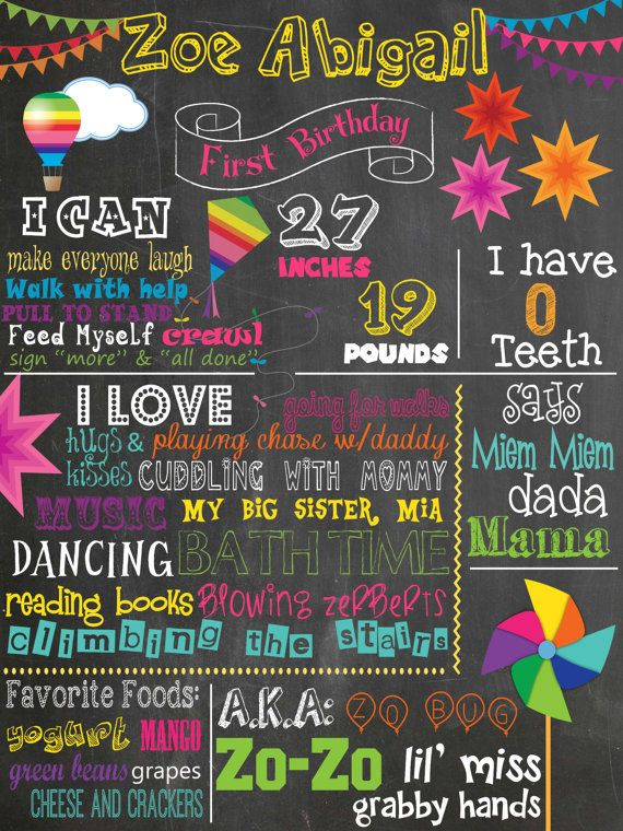 Rainbow Birthday Chalkboard Hot Air Balloons Kites Pinwheels