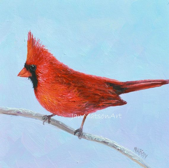 Red Cardinal Bird Painting Decor Art Etsy Original Woodland By Jan Matson On 95 00