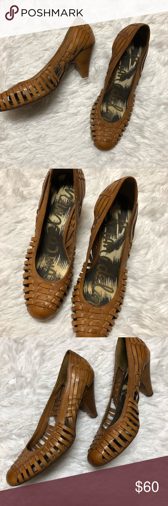 "8385070a0c9a0 Sam Edelman Ferran Woven Leather Heels Leather upper. Wooden heels. Approx.  3"" Sam Edelman Shoes"