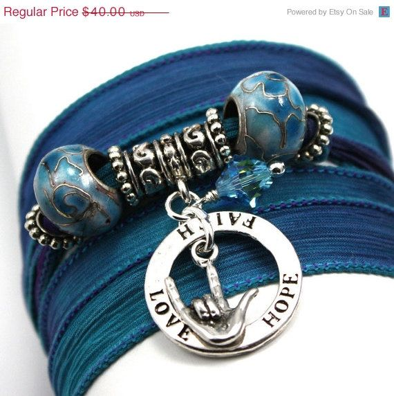 ON SALE Blue Orchid Silk Wrap Yoga Bracelet by anjalicreations, $34.00