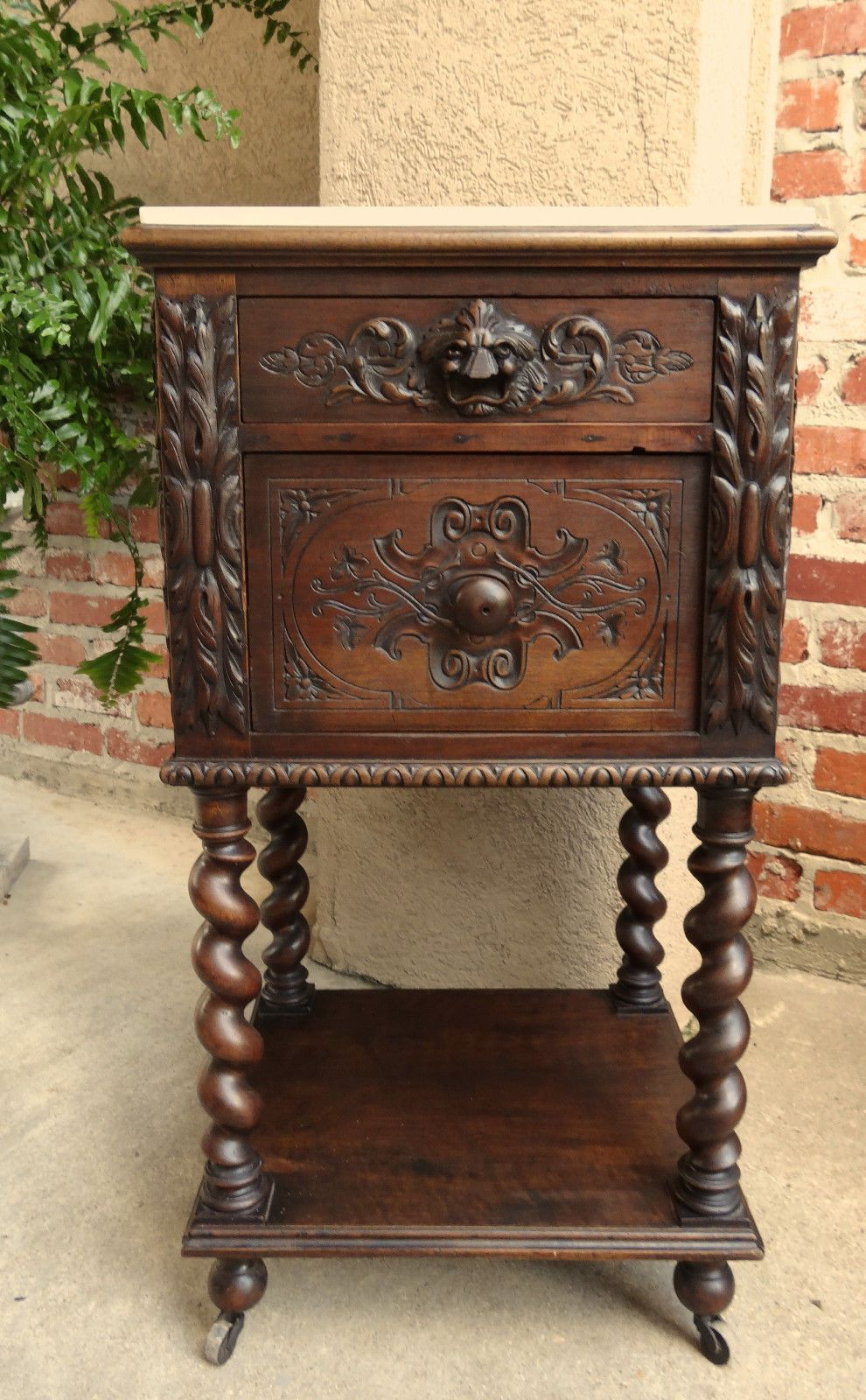 Antique French Carved Oak BARLEY TWIST Nightstand END TABLE Marble