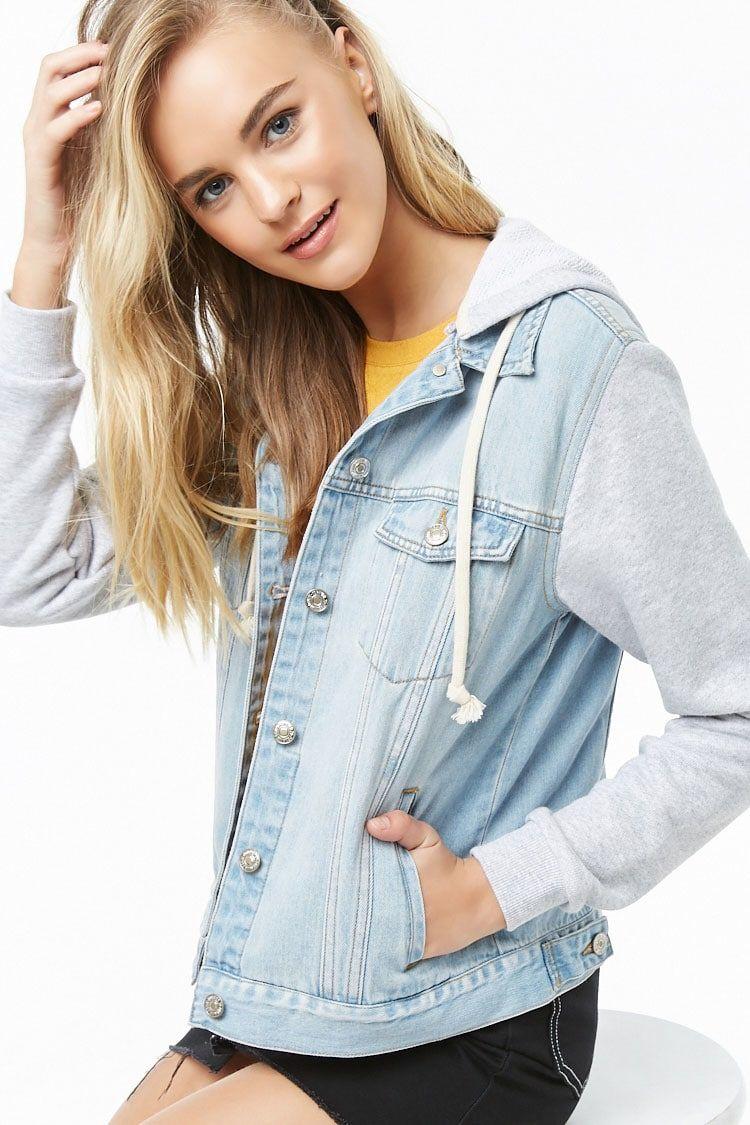 Hooded Combo Denim Jacket Forever 21 Jean jacket
