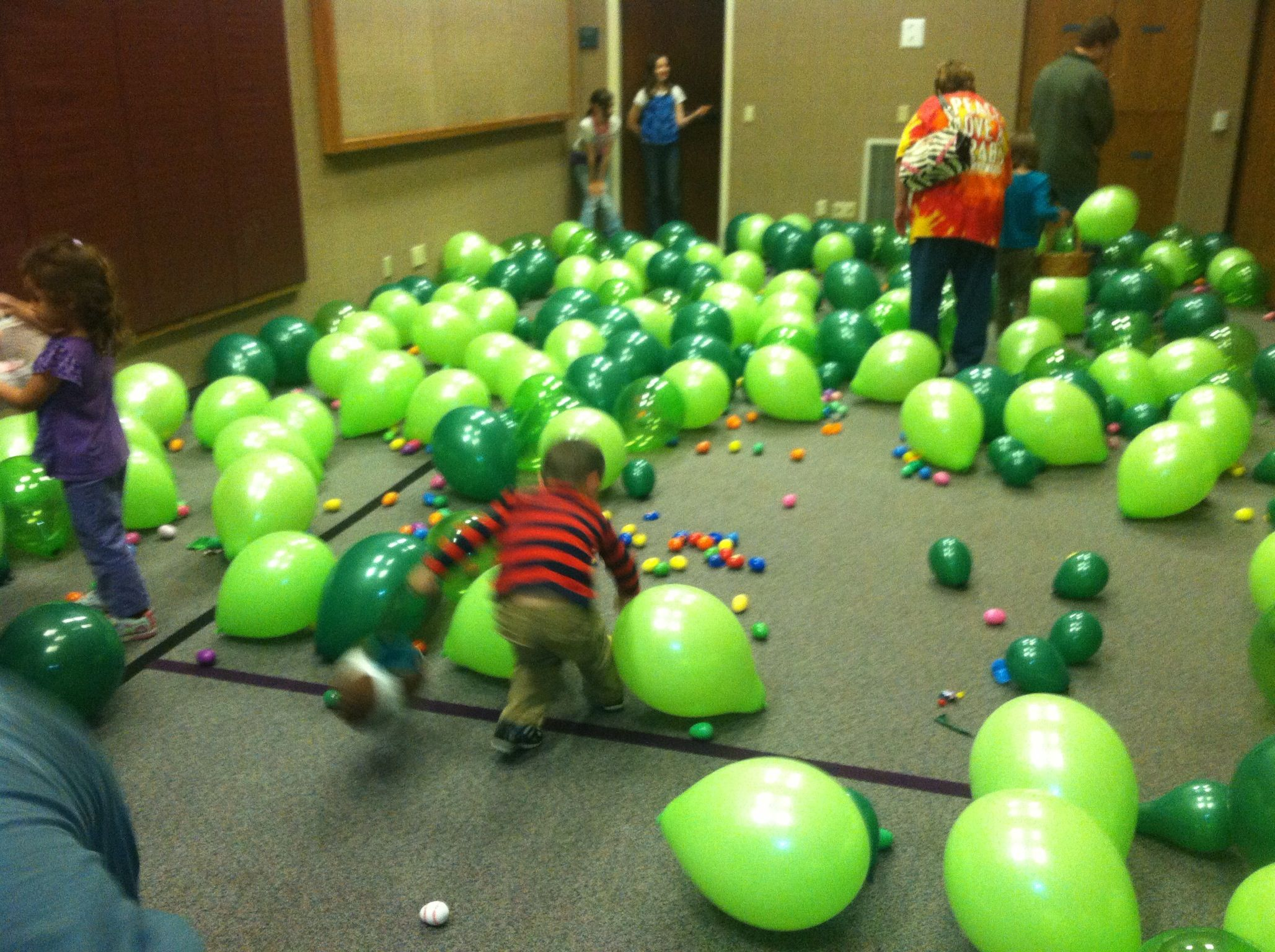 Doing an indoor Easter Egg hunt with balloons to hide them ...