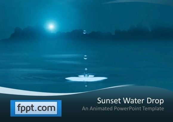 Water Drop Impact Water Drop PowerPoint Template I LOVE WATER - water powerpoint template