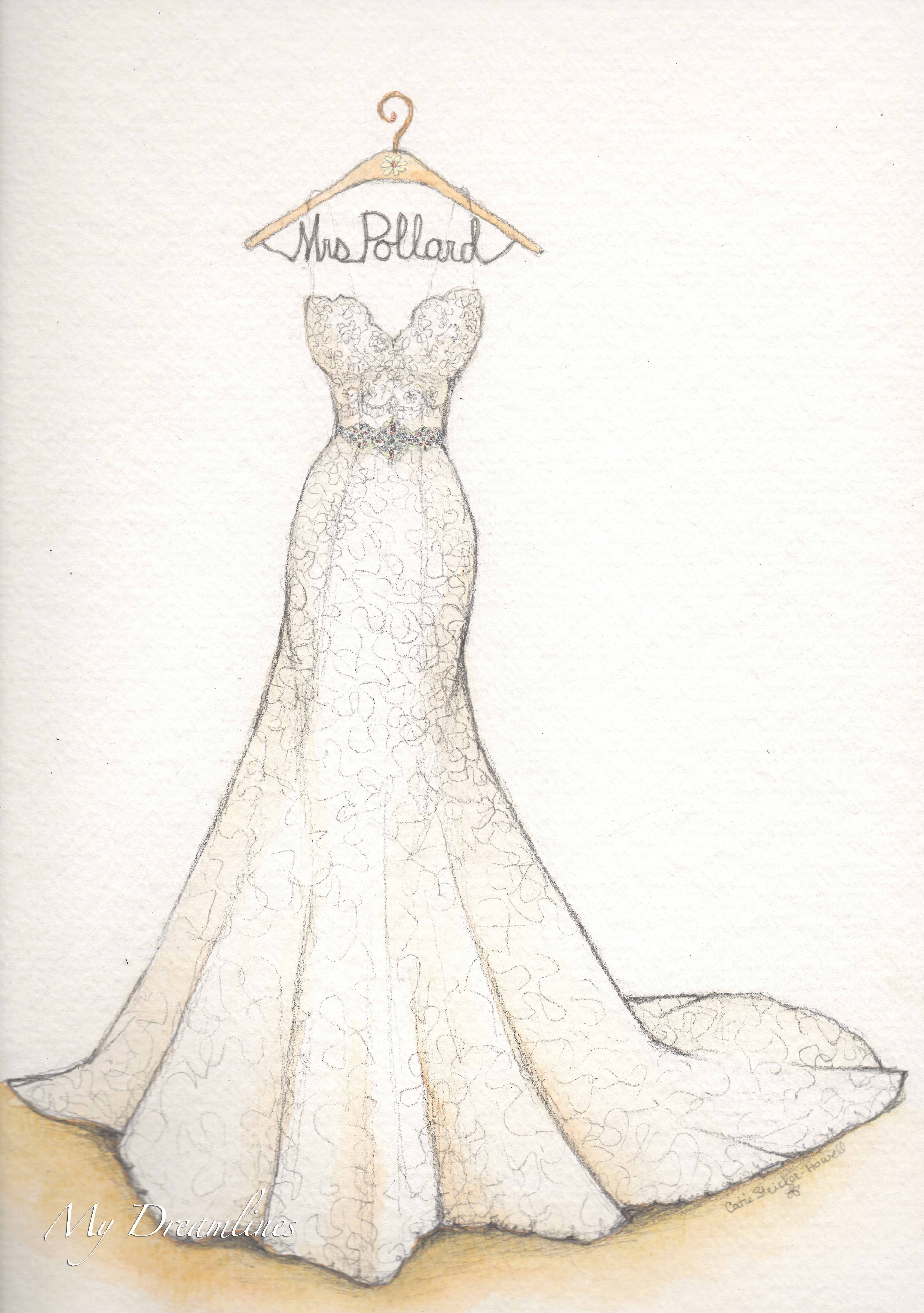 5476ea4fa32 Wedding dress sketch for first anniversary. Sketch by Catie Stricker-Howell   catiethesketchlady