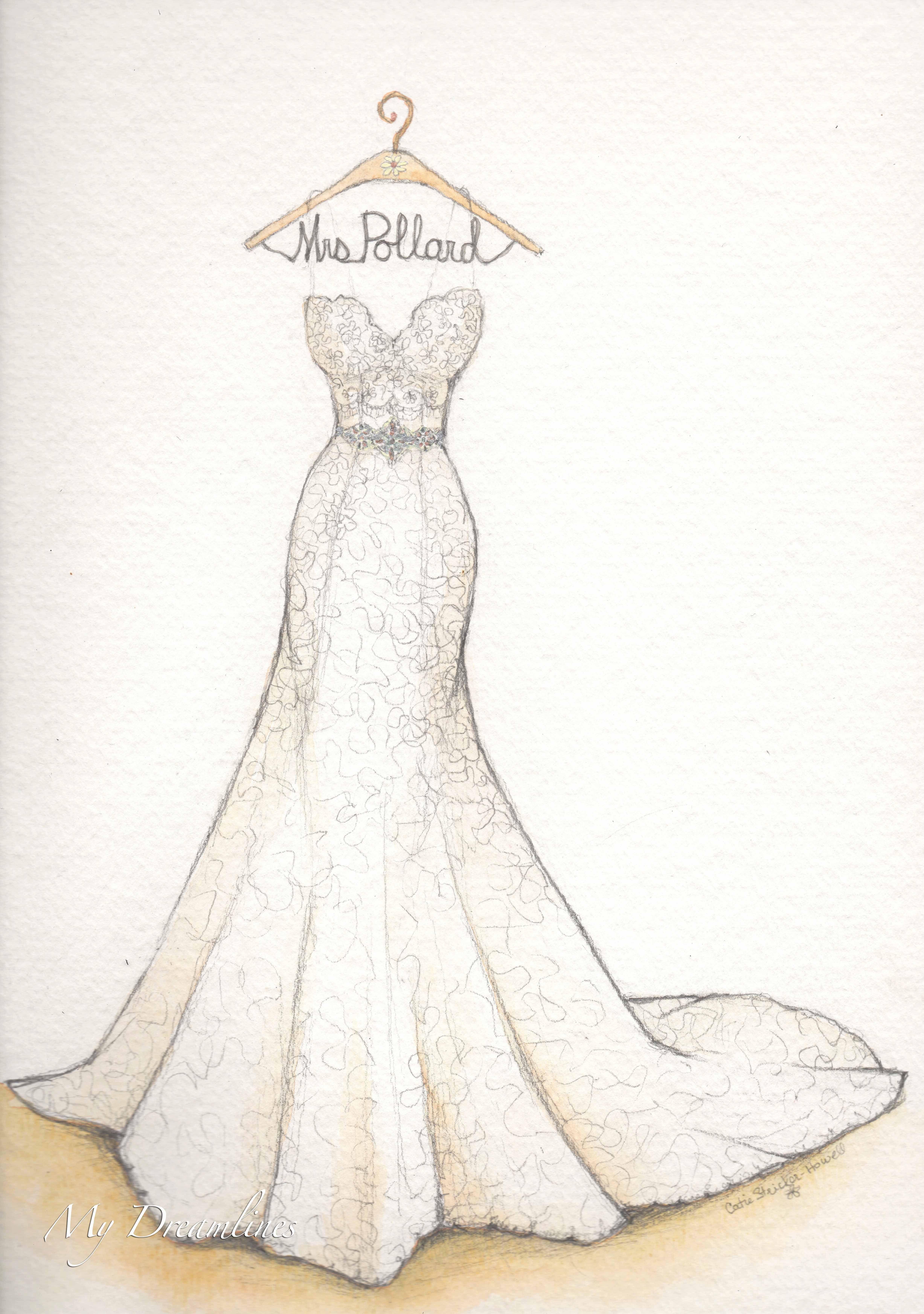Wedding dress sketch for first anniversary. Sketch by Catie Stricker ...