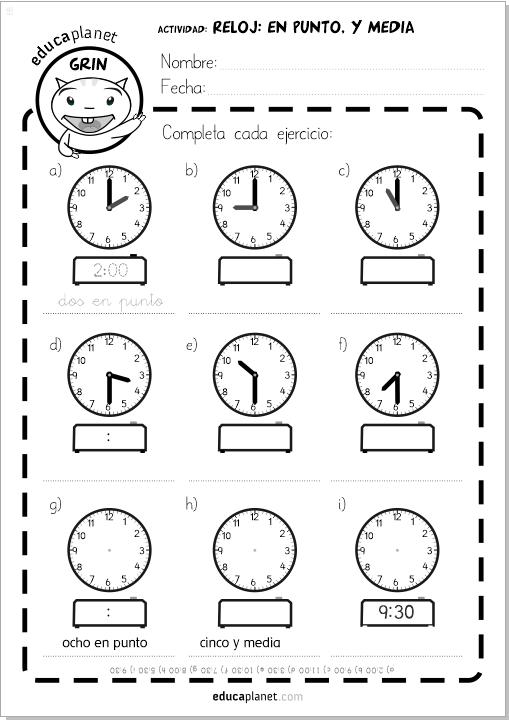 Juego aprender horas reloj - Descarga fichas gratis y app ...