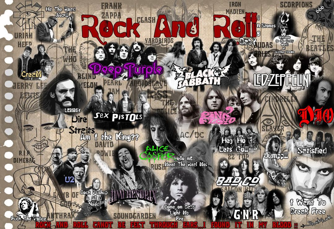 Rock N Roll Rock And Roll Beatles Collage Rock