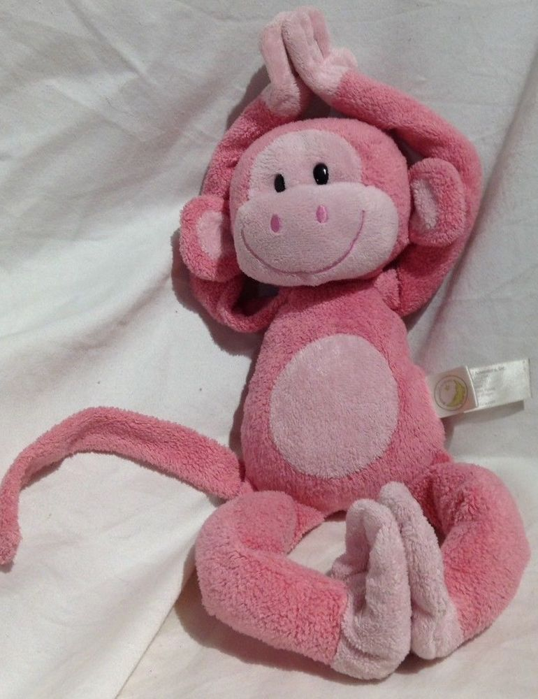 Animal Adventure Hanging Hook Loop Hugging Pink Monkey Plush
