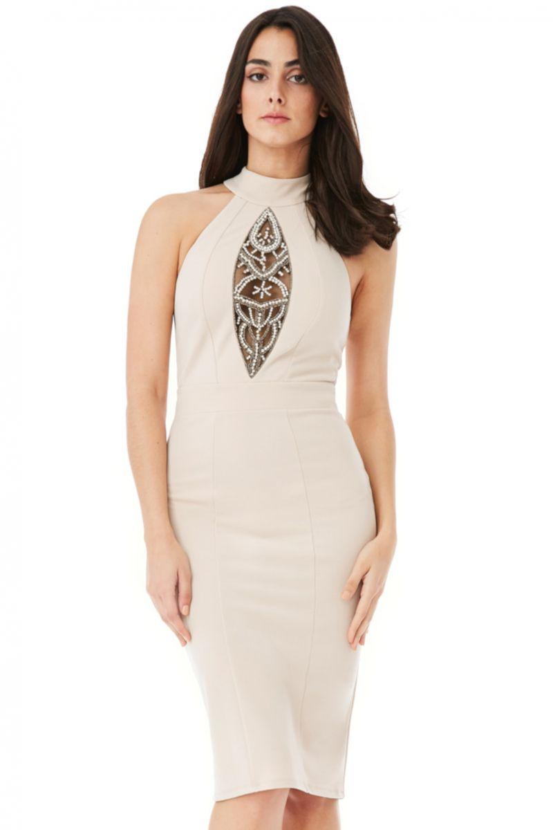Fashion e-Shop Αναζήτηση Φόρεμα μίντι αμάνικο με άνοιγμα και διαφάνεια στο  στήθος f7d8894c8fe