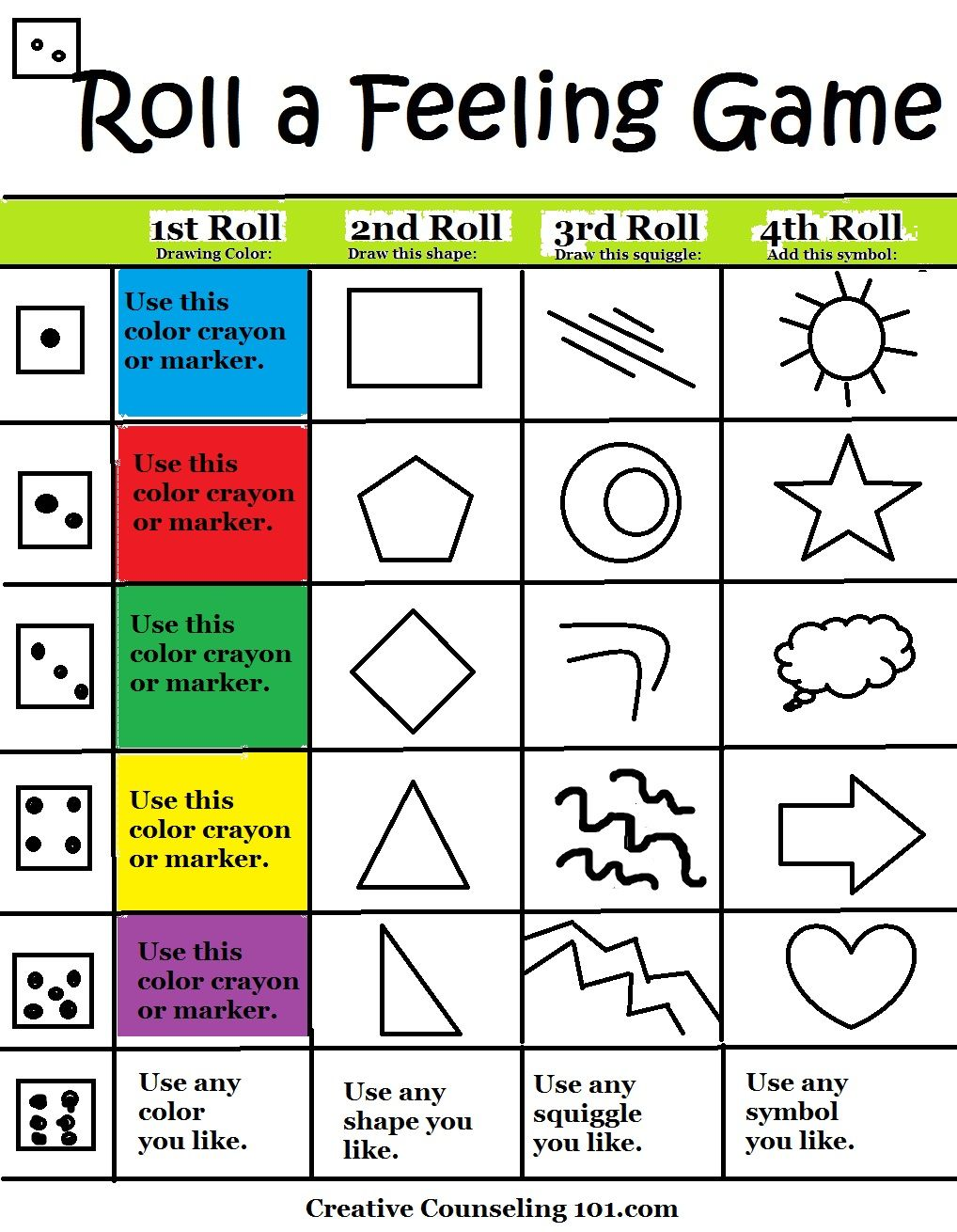 Try this fun Art Therapy RollAFeelings Game – Mental Health Group Worksheets