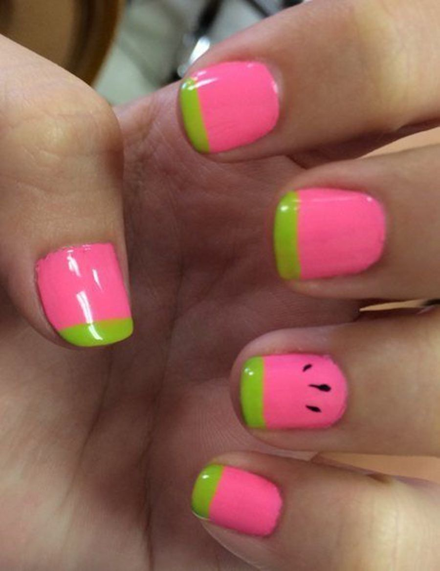 The Typical Watermelon Design Is Too Big For Short Nails But You Can Give The Close Up Watermelon Illusion With Only Three Polishes And A Dotting Tool Watermelon Nails Kids Nail Designs