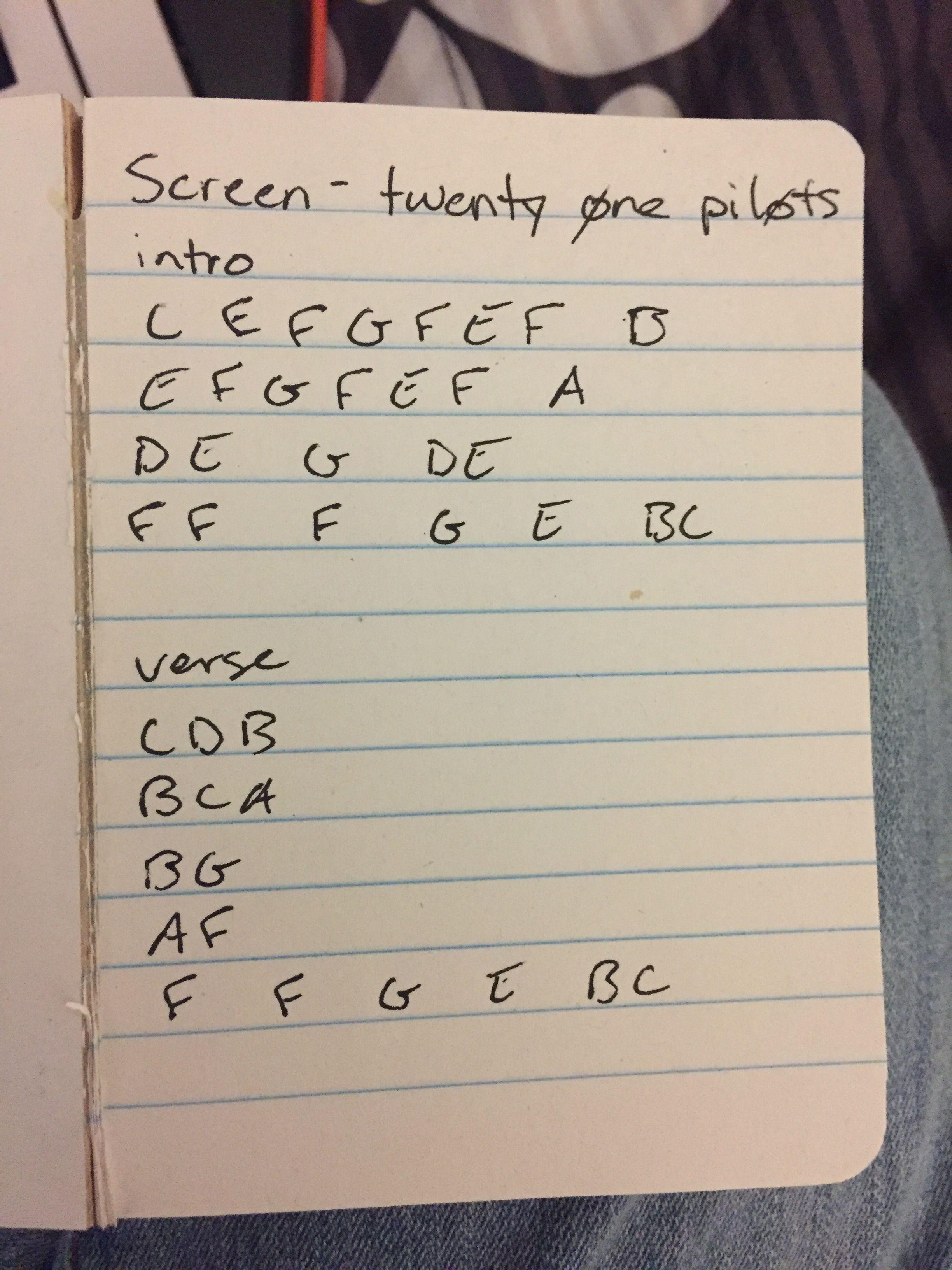 Twenty one pilots Screen piano keys because I can t read sheet
