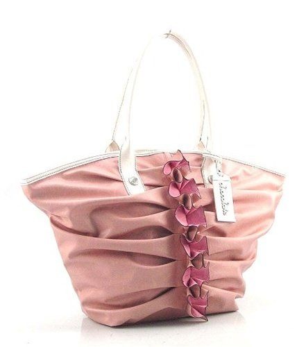 Chocolate New York Ruffle Pleated Tote Pink Handbag