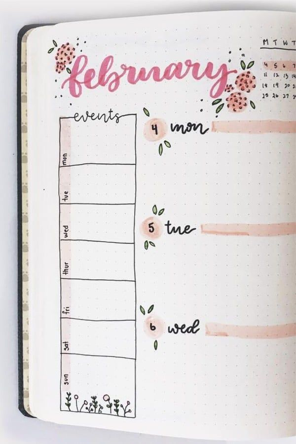 Bullet Journal Weekly Spread Ideas For February 2020 - Crazy Laura