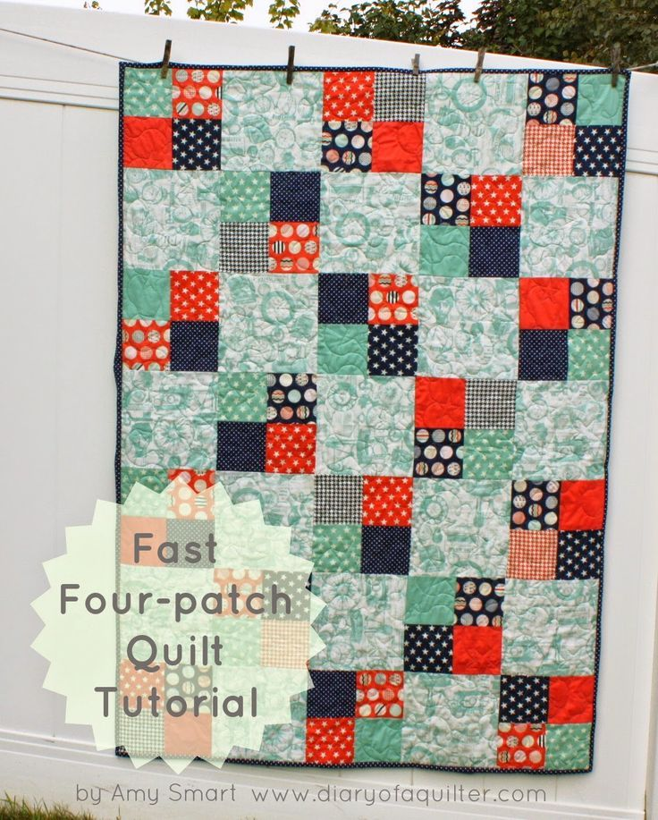 Fast Four Patch Quilt Tutorial Beginners Quilt Patch Quilt And