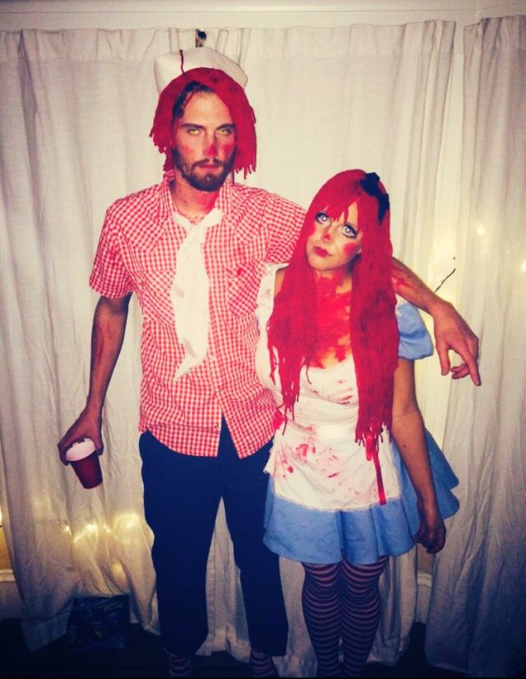scary raggedy ann and andy couple costume halloween