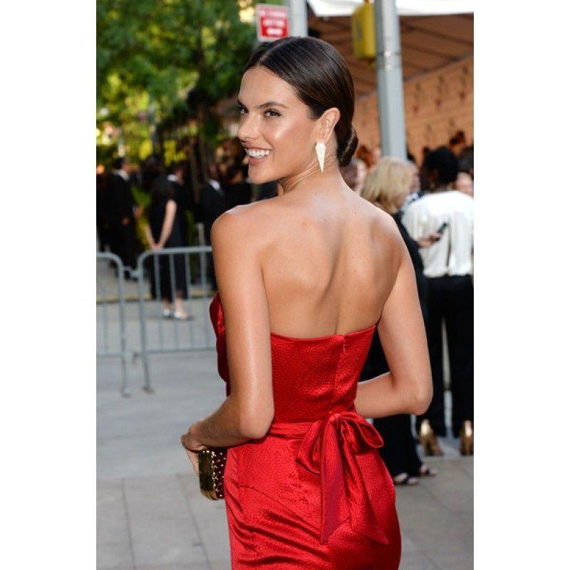 Alessandra Ambrosio Red Strapless Customized Prom Dress 2014 CFDA Fashion Awards