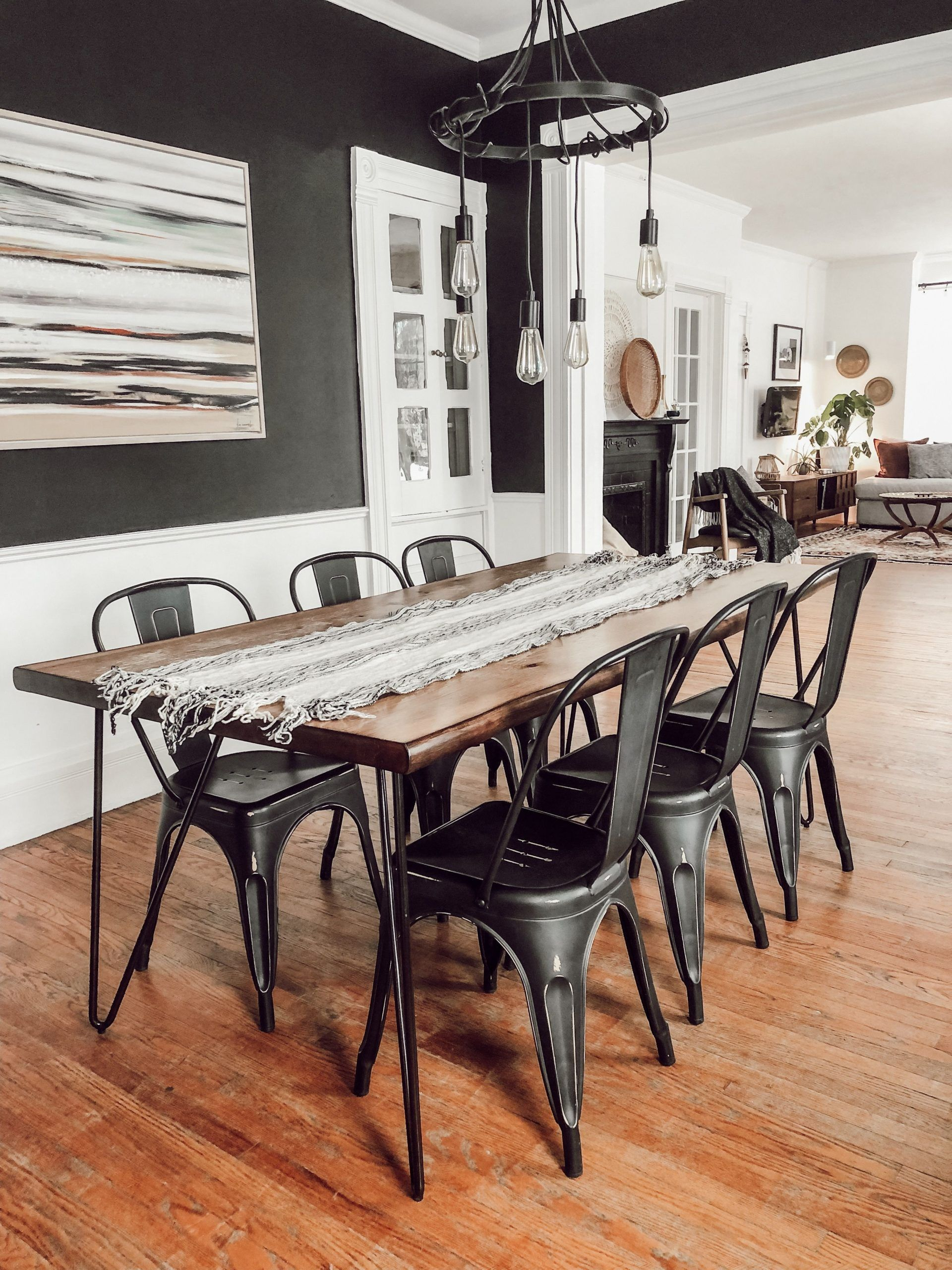 Funky Victorian Residence Tour Black And White Eating Room With Industrial Meta Black And White Dining Room White Dining Room Dining Room Industrial
