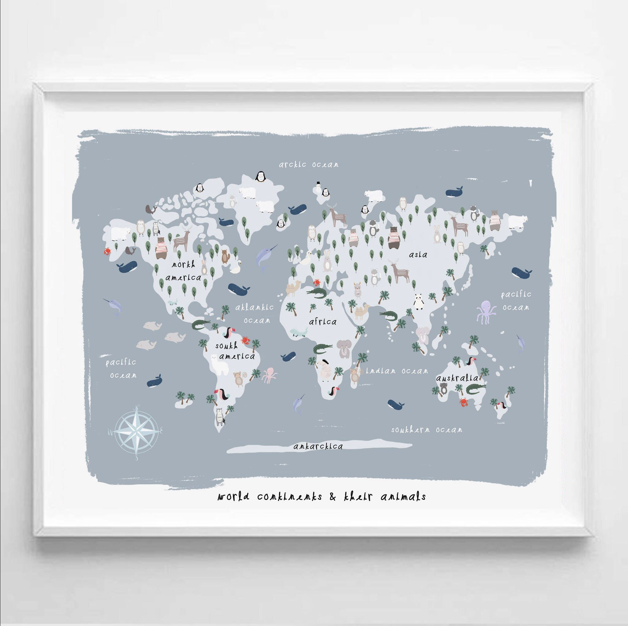 Kids world map print printable art continents of the world map kids world continent map their animals nursery decor nursery wall art https gumiabroncs Image collections