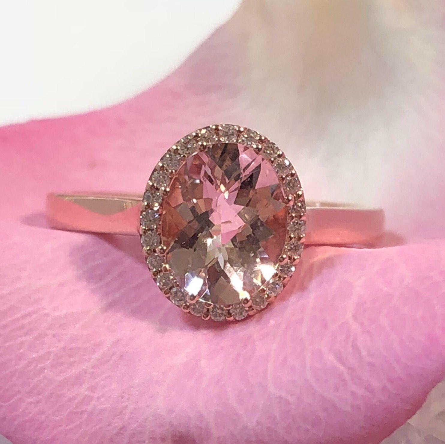 Morganite Engagement Ring 14k Rose Gold FREE Shipping Cherry Wood ...
