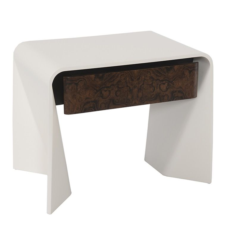 Tendu End Table  Contemporary, Leather, Lacquer, End Table by Donghia