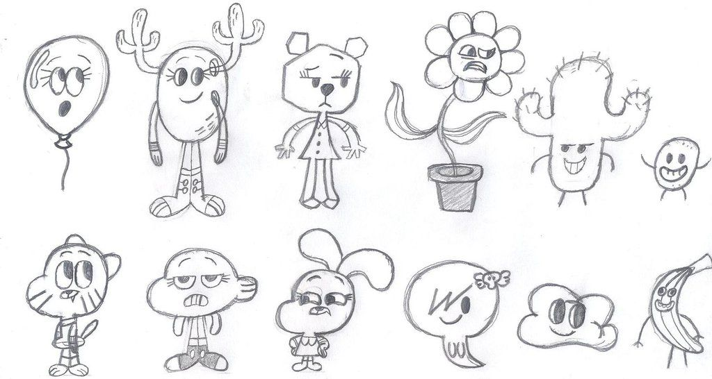 all characters from amazing world of gumball coloring