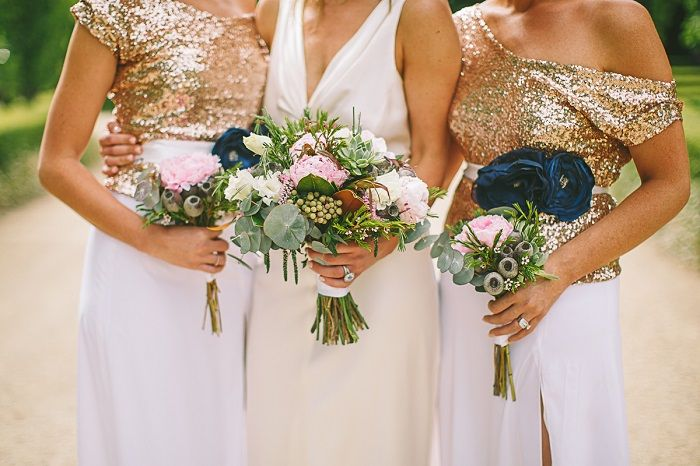2 Pieces white and Gold Sequin Bridesmaid Dresses | i take you #bridesmaiddresses #goldsequin