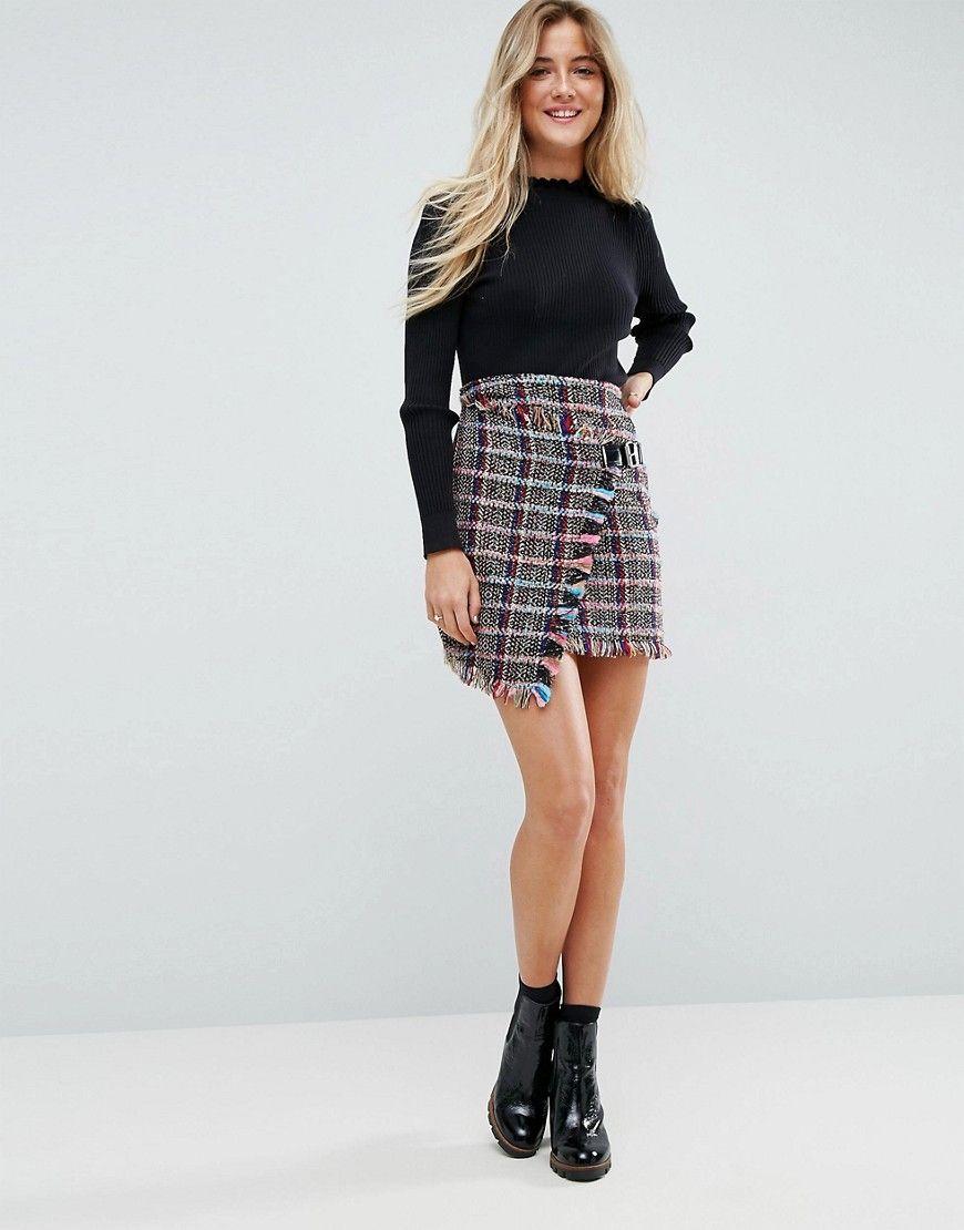ASOS Check Boucle Mini Skirt with Wrap Detail - Multi