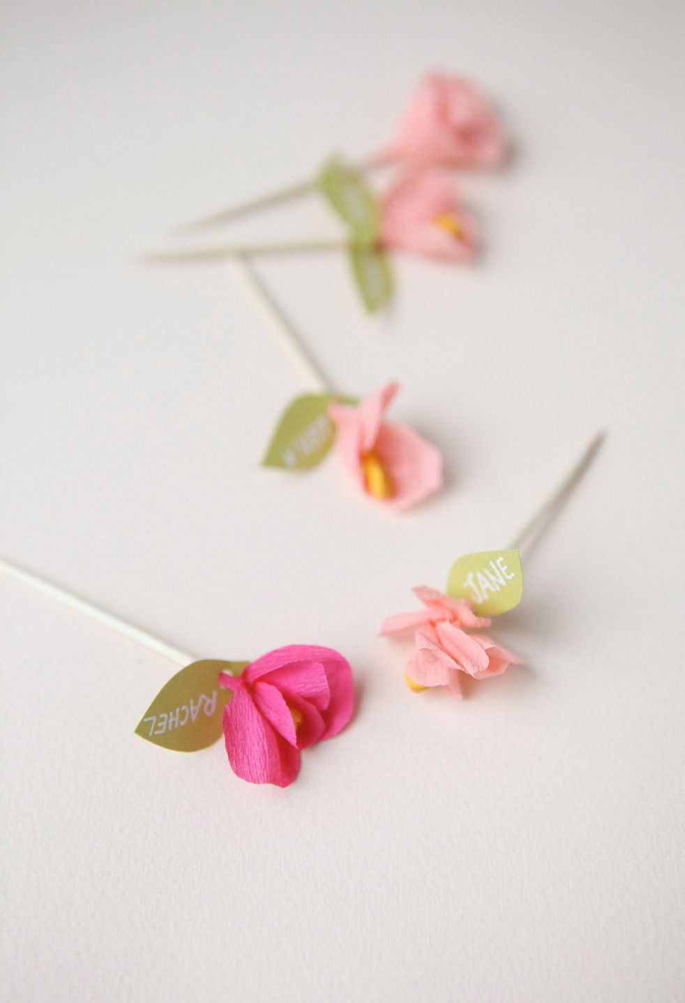 Pink Mini Crepe Paper Flower Cupcake Toppers Flowers Pinterest