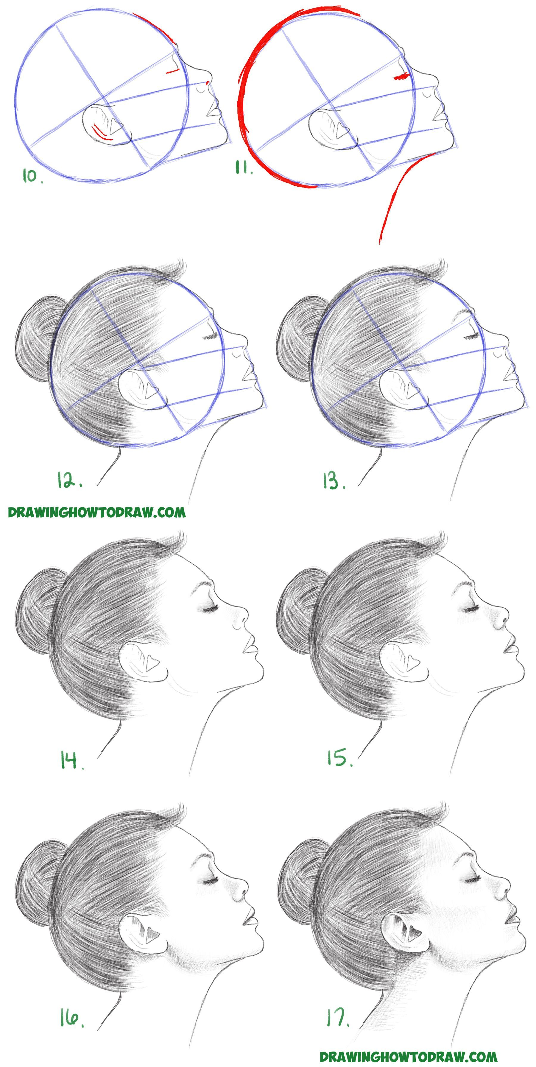 How To Draw A Face From The Side Profile View Female Girl Woman Easy Step By St In 2020 Drawing Tutorials For Beginners Drawing Tutorial Face Art Drawings Simple