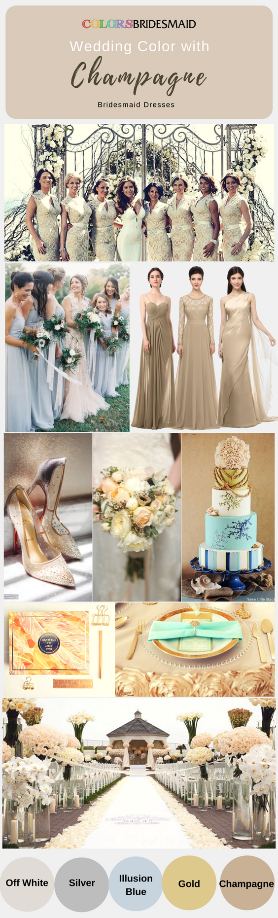 Cheap long bridesmaid dresses in champagne color for you wedding